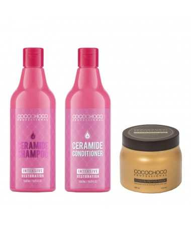 Ceramide Shampoo + Conditioner 500ml for Dry and Brittle Hair + Keratin Hair Mask 500ml COCOCHOCO